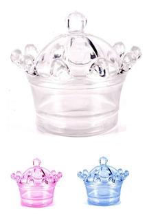 100 - Mini Cupulas Caixinha Coroa Acrilica - Tubetes - Festa