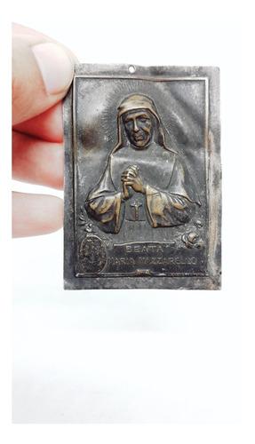 Yh Antiguo Aplique Laton Religio Beata Maria Mazzarello 1900