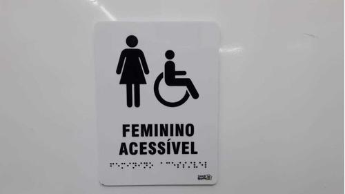 Placa Indicativa Banheiro Feminino Acessível Braille