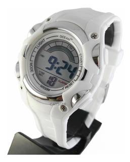 Reloj Mujer Deportivo Cronometro Sumergible 5m Blanco Gym