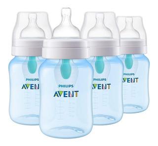 Set De 4 Biberones Mamila Anti-colico Avent 9 Oz Azul