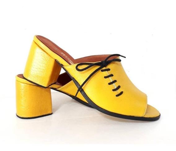 Huma10 Zuecos Acordonados Talles Grandes Amarillo