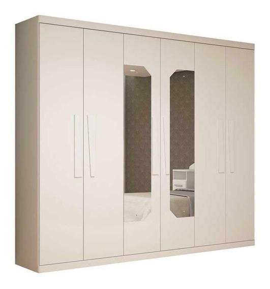 Guarda Roupa Branco Casal Com Espelho Infinity 6 Portas
