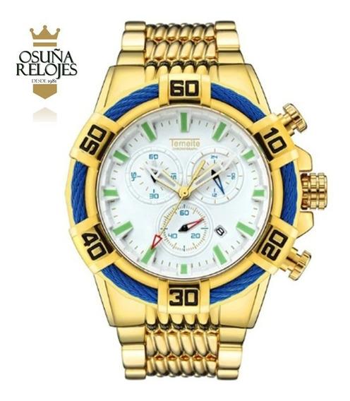 Relógio Masculino Dourado Prata Preto Pesado Original Bolt