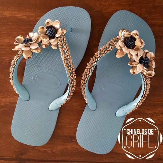 Havaianas Chinelos Feminino Sandálias Bordado C/ Pedraria