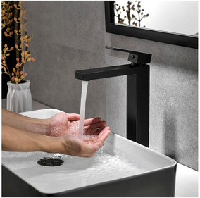Torneira Preta Banheiro Monocomando Lavabo Bica Alta Vbt