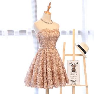 Vestido De Debutante Curto Dourado Escuro - Tamanho 34-36