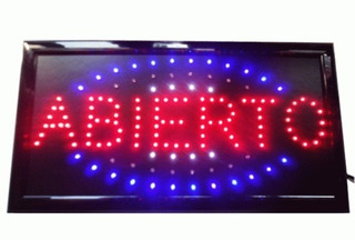 Cartel Abierto Led Luminoso 220 Volts
