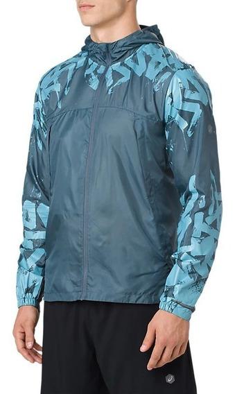 Asics Campera Running Hombre Packable Jacket Azul Petroleo