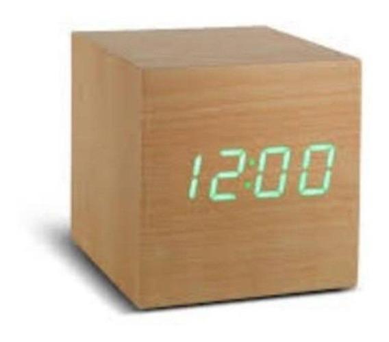 Relógio Despertador Digital Quadrado Cubo Madeira Led Mesa