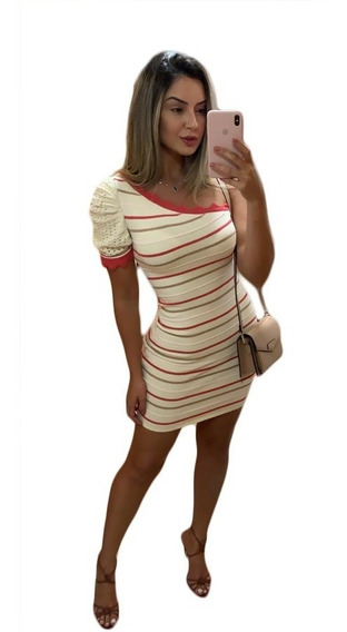 Vestido Listrado Mula Manca Manga Curta Moda Blogueira