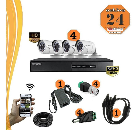 Kit Seguridad Hikvision 4 Camaras+dvr 4ch+ Fichas+cable+fuen