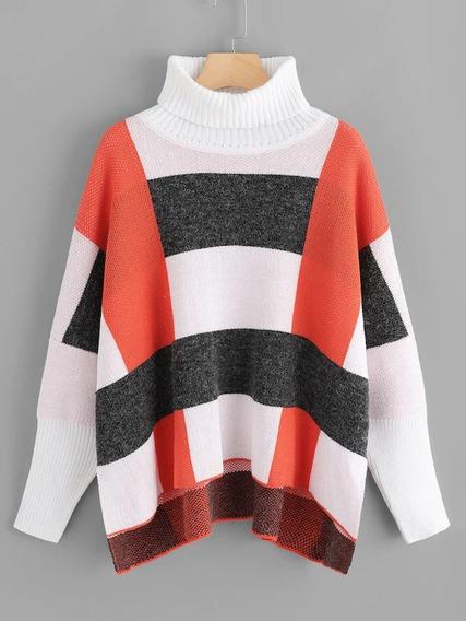 Suéter Con Costura De Hombros Caídos De Cuello Tortuga.v-292