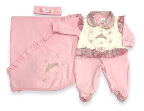 Kit Saída Maternidade 3 Pçs Bebê Menina Enxoval Promoção