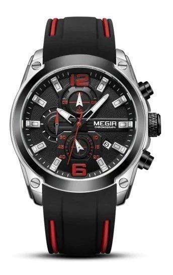 Relógio Megir M2063 Cronógrafo Pulseira Silicone M 2063