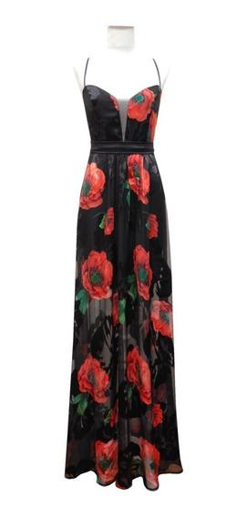 Vestido Largo Seda Natural Flores - Fiesta - Elegante