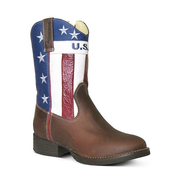 Bota Country Texana Infantil Couro Americana Silverado