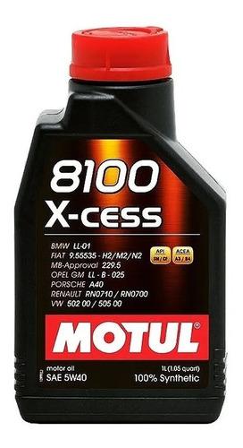 Óleo Motul 8100 X-cess 5w40 Sintético Alta Potência 1 Lt