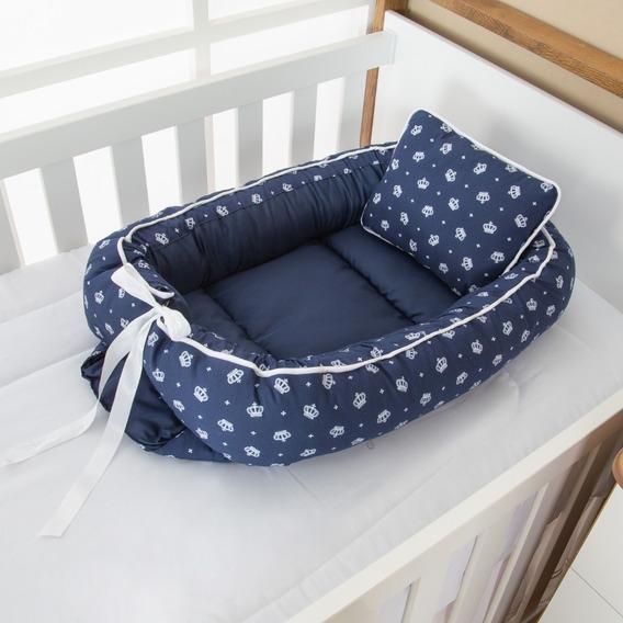 Ninho Redutor Bebê Menino Coroa Azul Marinho 2 Peças