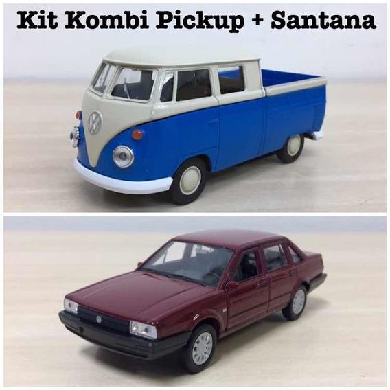 Kit 2 Miniaturas Santana 1989 + Kombi 1969 Pick-up