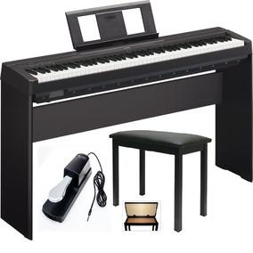 Piano P45 + Fonte + Estante L85 + Banqueta + Pedal - Yamaha