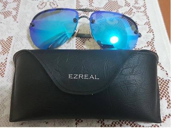 Óculos De Sol Tipo Aviador Ezreal Luxo C/ Proteção Uv
