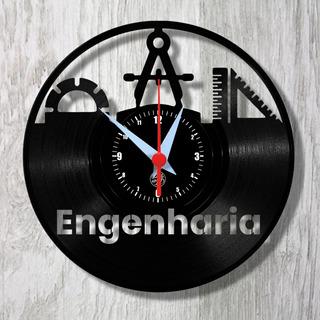 Engenharia Profissão Engenheiro Relógio Vinil Parede Lp