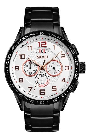 Reloj Skmei 9176 Hombre Acero Inoxidable Negro Cronógrafo