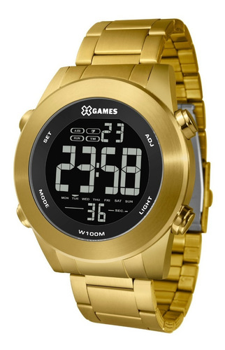 Relógio X-games Masculino Xmgsd001 Pxkx Aço Dourado Digital