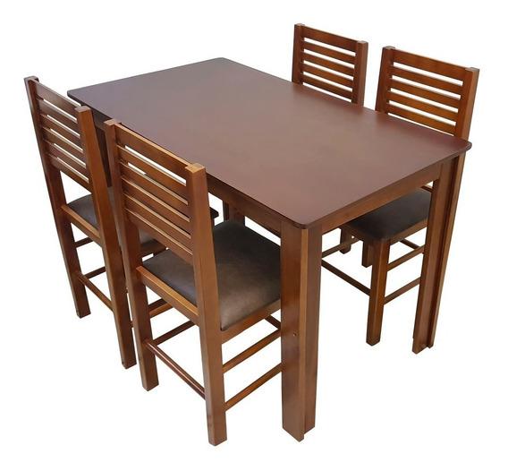 Conjunto Laguna Mesa 120x70 C/ 4 Cadeiras Madeira P/ Cozinha
