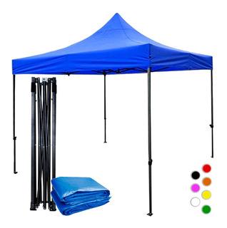 Toldo Azul 3x3 M Plegable Exterior Impermeable Reforzado