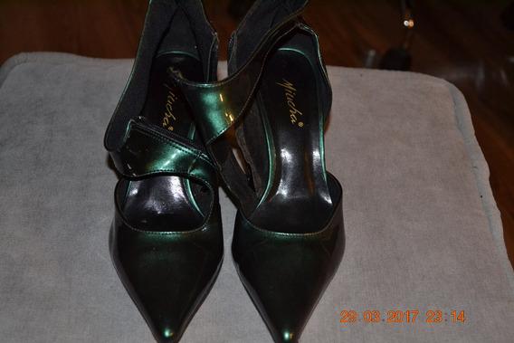 Scarpin C/tiras,cor Verde Escuro,sintetico,nº35,marca Miucha