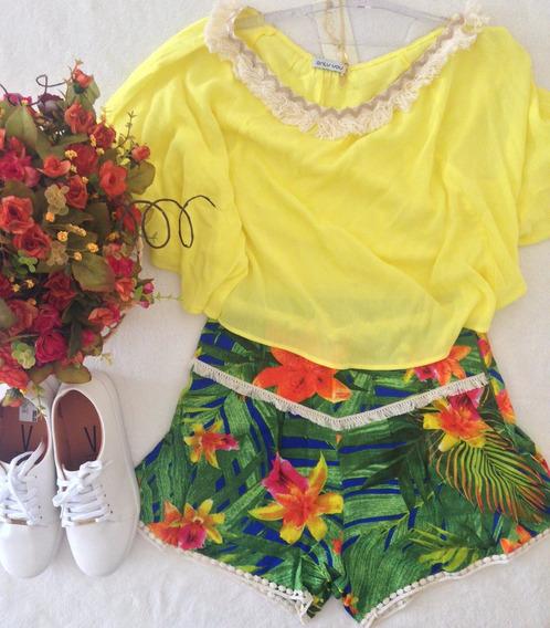 Conjunto Only You Blusa Amarelo E Short Linho Floral P