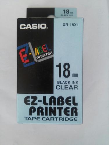 Cinta Rotuladora Casio Xr-18x1 De 18mm Transparente Y Negro