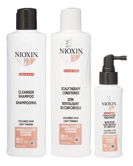 Kit Nioxin 3 Sh 300ml + Cond 300ml + Scalp 100ml + Brinde