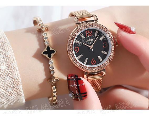 Relógio Feminino Original Luxo Brilhos Rosê C/ Fundo Preto