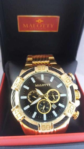 Relógio Malotty Masc Original,catraca Giratória E Calendário