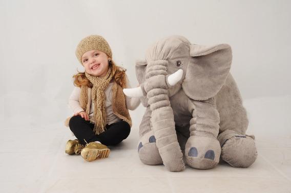 Almofada Travesseiro Elefante Pelúcia Bebê Dormir Cinza 67cm