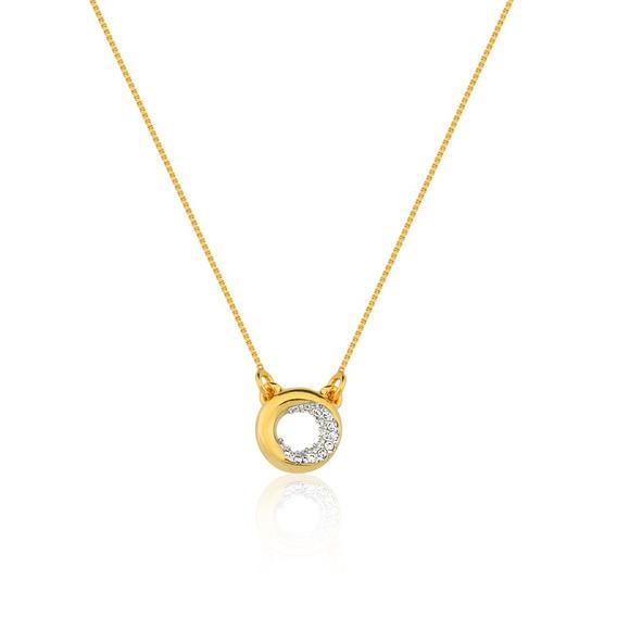 Gargantilha Dourado Com Zircônia Cristal