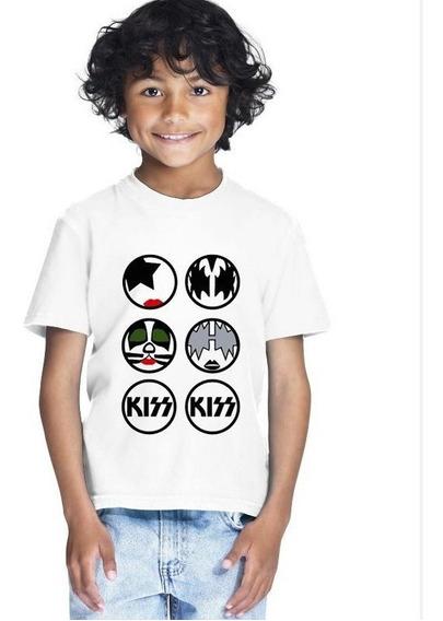 Camiseta Infantil Masculina Menino Banda Kiss Rock