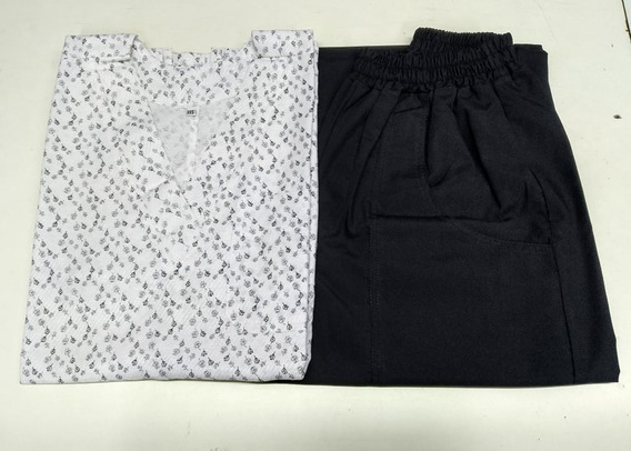 Ambo Mujer Chaqueta Estampada + Pant / Mod. Florcitas Negras