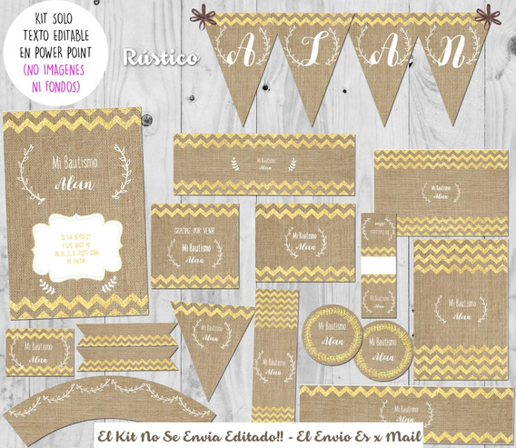 Kit Imprimible Rústico Y Dorado Con Texto Editable.