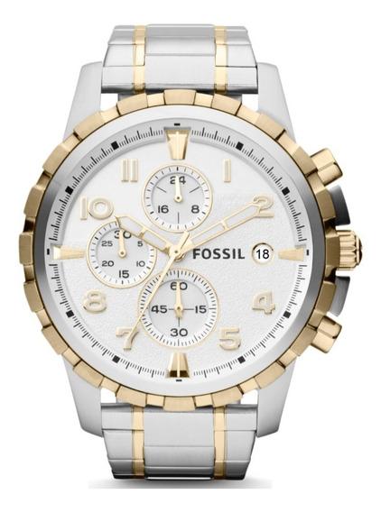Relógio Fossil Masculino Prata E Dourado Cronógrafo Original