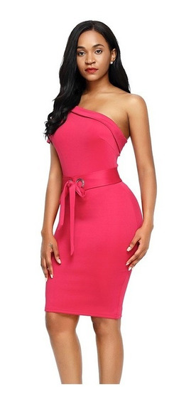 Sexy Vestido Rosa Corte Asimétrico Elegante Moderno 220137