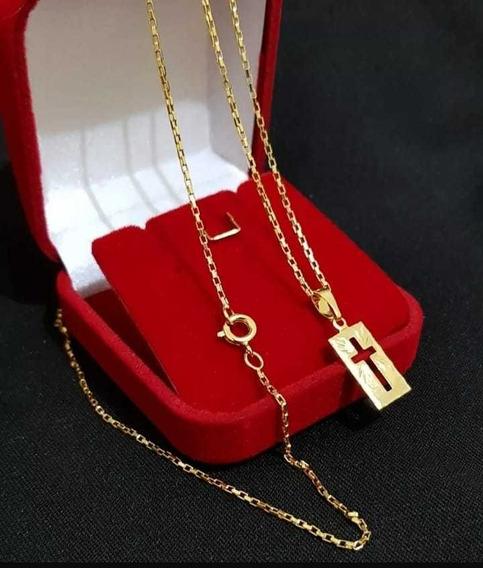 Corrente Cartier Tijolinho 1mm Folheada A Ouro 18k Crucifixo