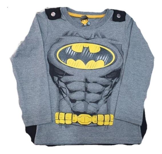 Remera Con Capa Desmontable Batman, Hombre Araña, Superman