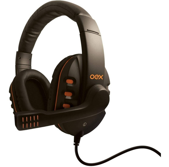 Fone Ouvido Headset Gamer Oex Action Preto / Laranja Hs200