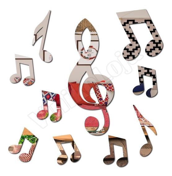 Acrílico Espelhado Decorativo Mod Kit Musical Notas Musicais