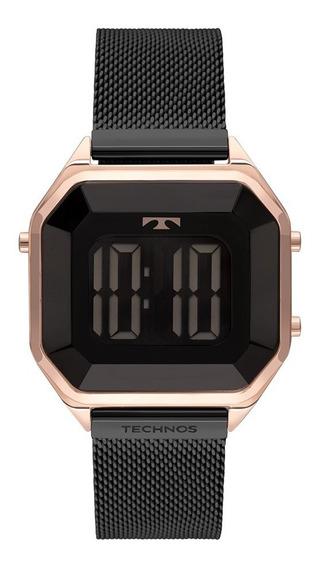 Relógio Technos Feminino Crystal Bj3851am/4p Rose Digital