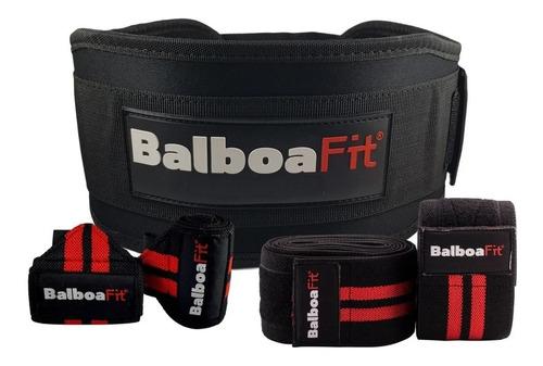 Kit Fitness Cinturón Vendas Muñequeras Balboafit